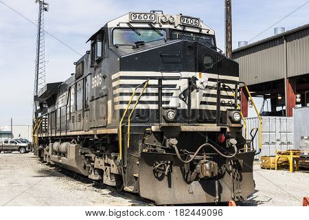 Fort Wayne - Circa April 2017: Norfolk Southern Railway Engine Train. NS is a Class I railroad in the US and is listed as NSC V
