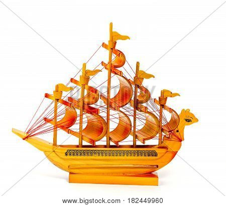 Model of a wooden ship isolated on white, flat view