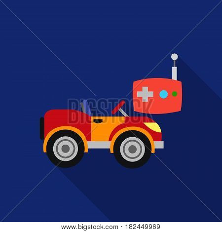 RC car icon in flat style isolated on white background. Play garden symbol vector illustration.