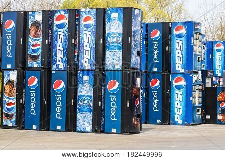 Fort Wayne - Circa April 2017: Pepsi and PepsiCo Vending Machines Awaiting Repair. Pepsi is one of the largest beverage producers in the world IV
