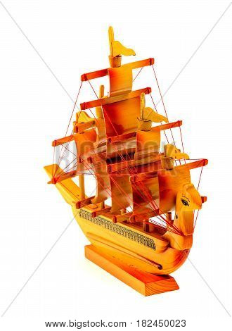 Model of a wooden ship isolated on white, frontal view