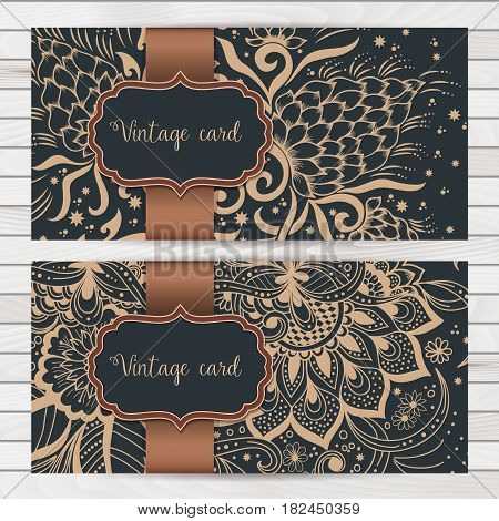 Wedding invitation and announcement card with ornament in Arabian style. Arabesque pattern. Eastern ethnic ornament. Elegant texture for backgrounds. Design template.