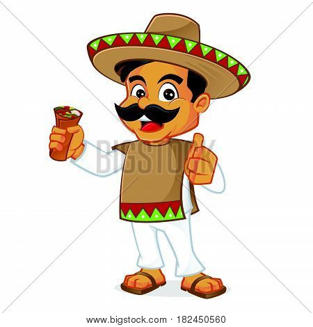 Mexican man holding burrito isolated in white background