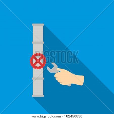 Wrench and valve icon in flat style isolated on white background. Plumbing symbol vector illustration.