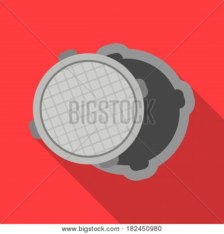 Manhole icon in flat style isolated on white background. Plumbing symbol vector illustration.
