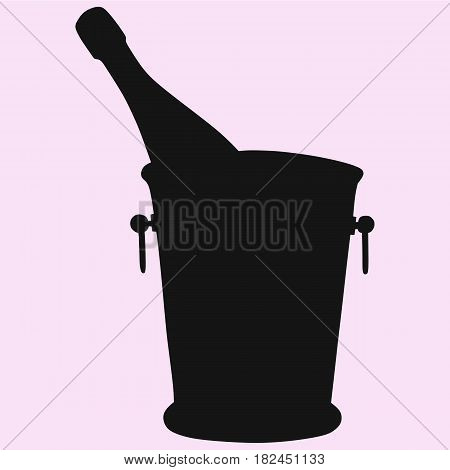 Champagne bottle in a ice bucket vector silhouette isolated