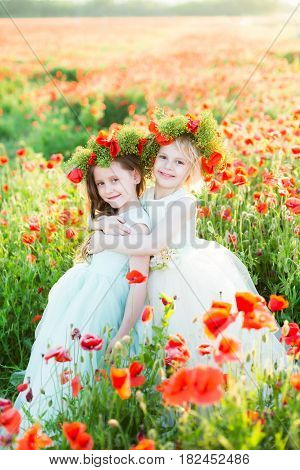girl model, wedding, poppies, summer fashion concept - two sisters dressed in festive dresses hugged each other and smiling in a field of poppies on heads wearing wreaths woven of flowers of poppies