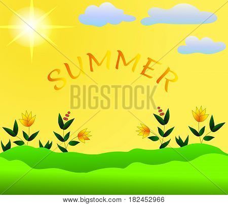 Summer sunny background with yellow flowers green leaves and floating clouds