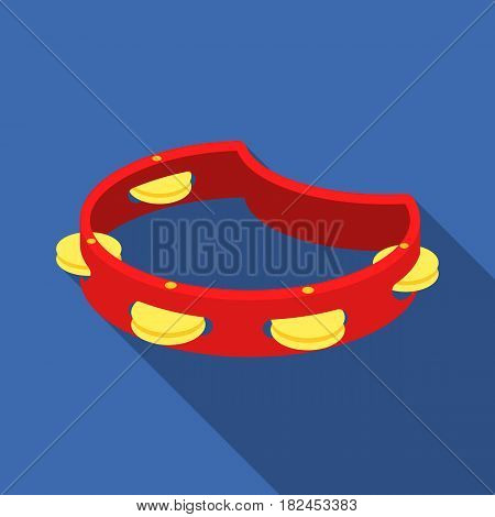 Tambourine icon in flat style isolated on white background. Musical instruments symbol vector illustration