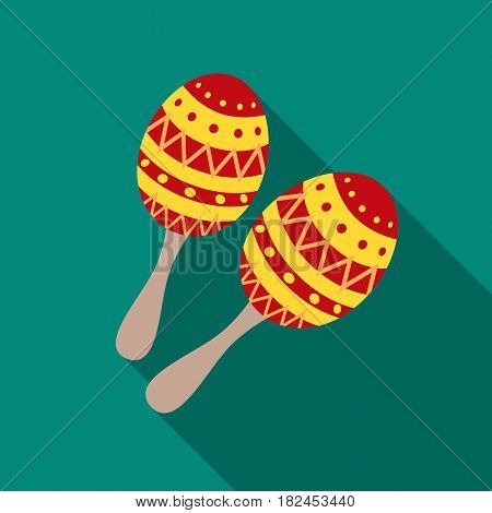 Maracas icon in flat style isolated on white background. Musical instruments symbol vector illustration