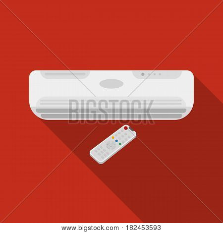 Air conditioner with remote control icon in flat style isolated on white background. Office furniture and interior symbol vector illustration.