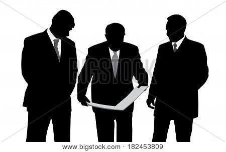 Three businessmen engineers or architects looking at a new project plan