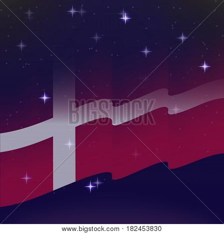 Waving flag of Denmark. Background of the night starry sky. Shining in the colors of the national flag. vector illustration