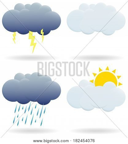 Set of clouds. A cloud with a thunderstorm, sun, rain is depicted. EPS 10