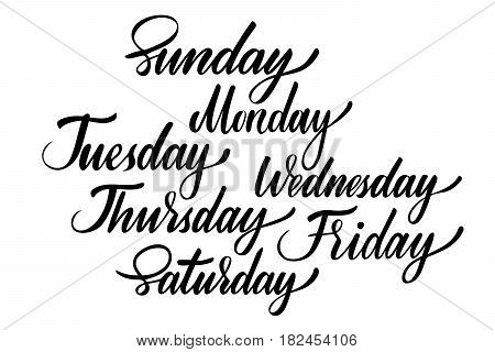 Days of the week isolated set. Vector illustration: brush calligraphy, hand lettering. For calendar, schedule, diary, journal, postcard label sticker and decor