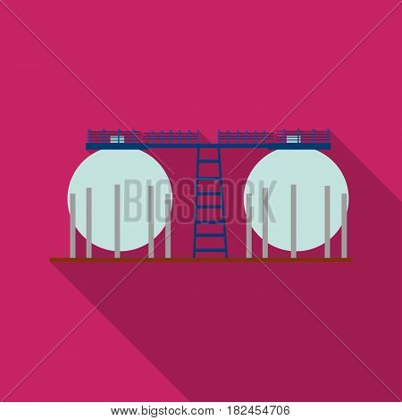 Oil refinery tank icon in flat style isolated on white background. Oil industry symbol vector illustration.