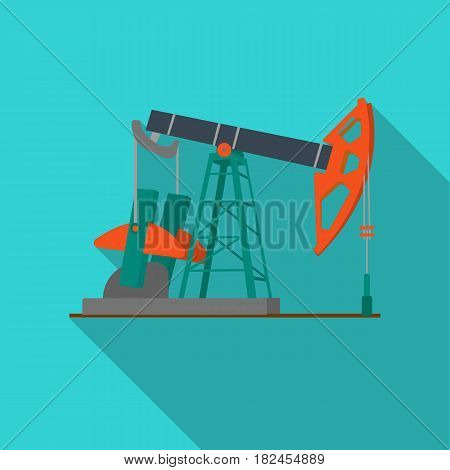 Oil pumpjack icon in flat style isolated on white background. Oil industry symbol vector illustration.