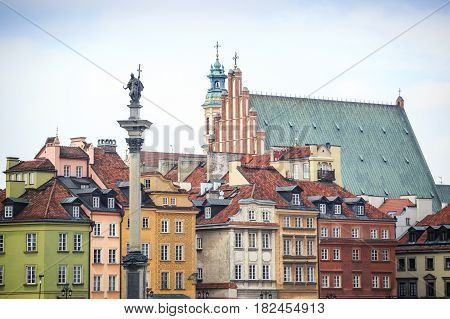 Zygmunt Column Monument In The City Center Of Warsaw, Poland
