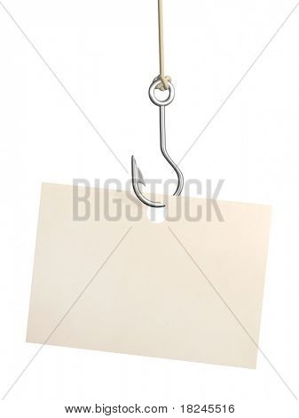 Empty sheet of a paper, hanging on a fishing hook. Isolated over white