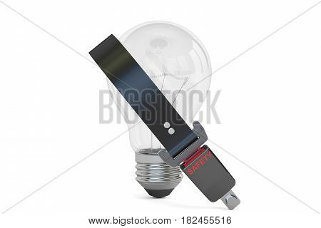 Lightbulb with seatbelt 3D rendering isolated on white background
