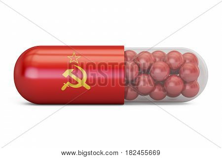 Pill capsule with Soviet Union flag. USSR health care concept 3D rendering