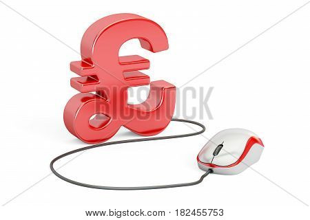 Pound sterling symbol with computer mouse. Make money online concept 3D illustration