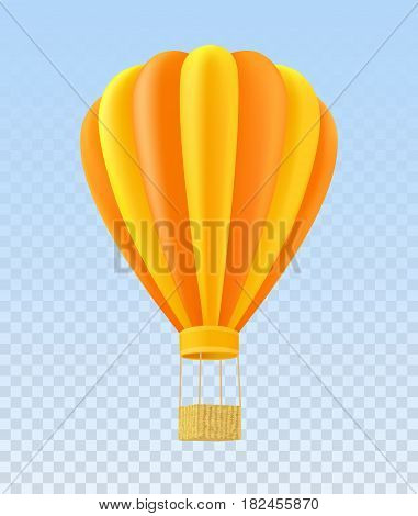 Yellow and orange air ballon with basket over transparent background