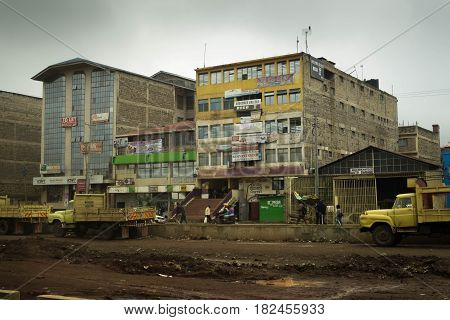 Office Building And Road Under Construction In Developing Country