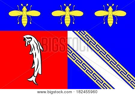 Flag of Bar-sur-Aube is a French commune and a sub-prefecture in the Aube department in the Grand Est region of France. Vector illustration