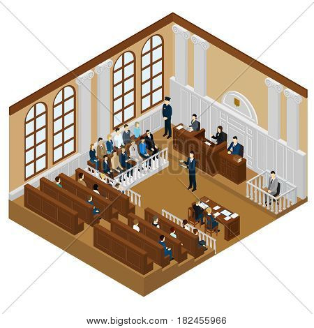 Isometric judicial system concept with judge lawyer suspect witnesses jury trial police officer on court session vector illustration