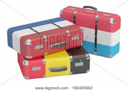 Travel around Europe concept suitcases with flags of Belgium Netherlands and Luxembourg. 3D rendering
