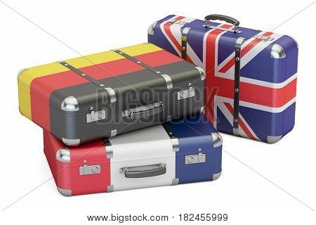 Travel around Europe concept suitcases with flags of UK Germany and France. 3D rendering