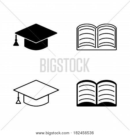 Vector education icon. Hat and book illustration