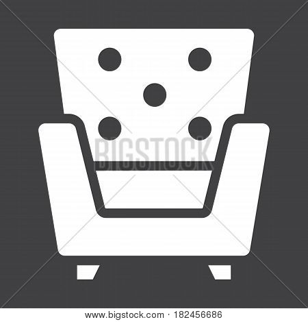 Armchair solid icon, Furniture and interior element, vector graphics, a filled pattern on a black background, eps 10.
