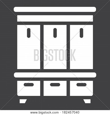 Hallway closet solid icon, Furniture and interior element, halltree vector graphics, a filled pattern on a black background, eps 10.