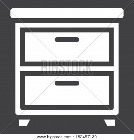 Bedside table solid icon, Furniture and interior element, vector graphics, a filled pattern on a black background, eps 10.