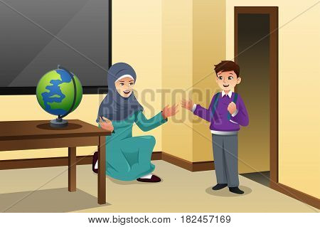 A vector illustration of Muslim Kid and Teacher in a Classroom