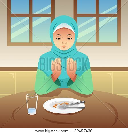 A vector illustration of Muslim Woman Praying After Eating
