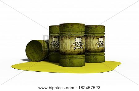 3d illustration of chemical weapon in barrels isolated on white background