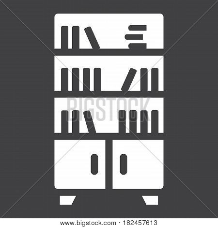 Bookshelf solid icon, Furniture and interior element, vector graphics, a filled pattern on a black background, eps 10.
