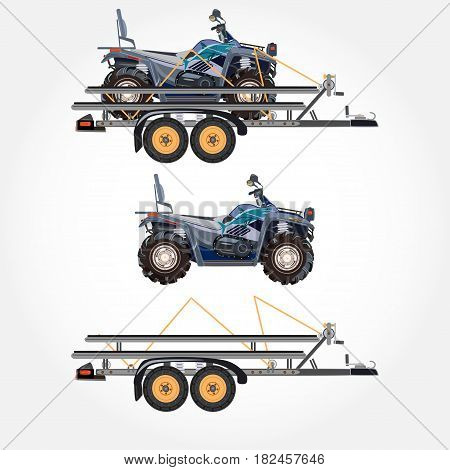 Vector illustration of quad bike and car trailer isolated on white background. All-terrain vehicle on trailer flat style design.
