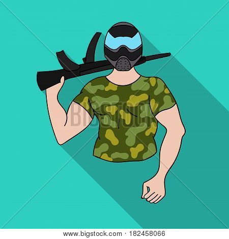 Paintball player icon in outline design isolated on white background. Paintball symbol stock vector illustration.