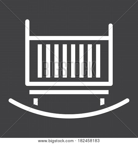Cradle solid icon, Furniture and interior element, vector graphics, a filled pattern on a black background, eps 10.