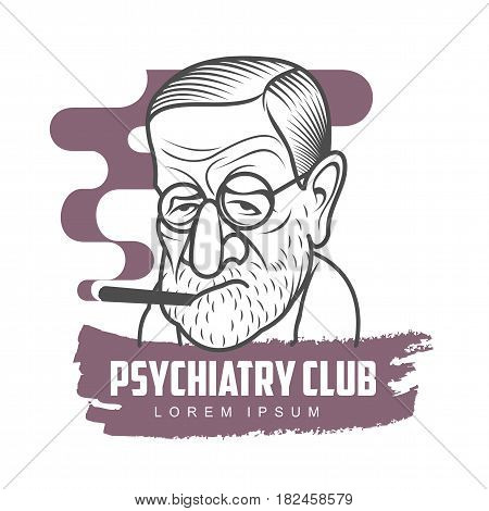 Vector cartoon caricature portrait of Sigmund Freud. Vector template for business card, poster, banner, design elements for psychology, psychiatry club. Isolated on white background.