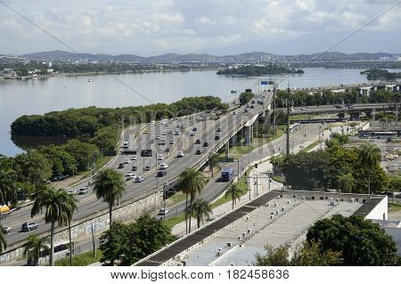Rio de Janeiro Brazil - april 19 2017: View of Red Line near the island of Fundao. Important expressway to connect the central part of the city to the suburb.