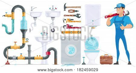 Plumbing elements collection with repairman toolbox repair equipment sewerage sink toilet shower boiler washing machine isolated vector illustration