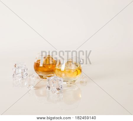 Set Of Whisky Tasting Glasses, Whisky In A Glasses, White Background, Red Bow