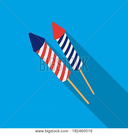 Patriotic fireworks icon in flat style isolated on white background. Patriot day symbol vector illustration.