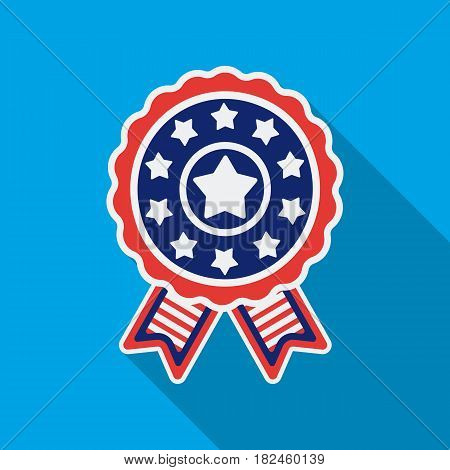 Vote emblem icon in flat style isolated on white background. Patriot day symbol vector illustration.