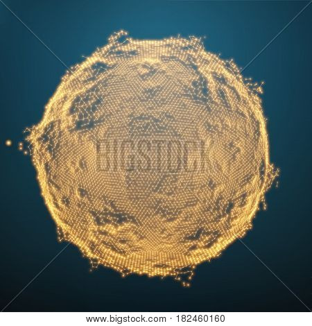 Abstract vector distorted sphere. Explosion of sphere with glowing particles. Futuristic technology style. Elegant background for business presentations.